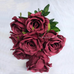 Kcolor 9 chefs Bouquet de fleurs en soie géante Rose Rose Fleur artificielle pour la décoration d'accueil