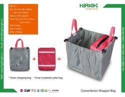Dobrável reutilizáveis 210d refrigerador de tecido de poliéster Saco Trolley de carrinho de compras