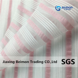 100%Yarn-Dyed Poliéster Stripe Organza para vestuário para crianças