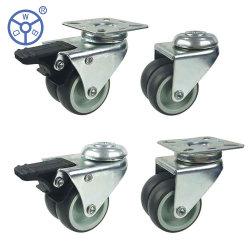 Wbd Movable Gray TPR Mute 2인치 3인치 회전식 캐스터 더블 듀얼 트윈 캐스터 휠