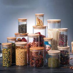Best Selling Cozinha Logotipo personalizado comida de vidro Armazenamento Café Copo de vidro transparente Recipientes com tampa de bambu