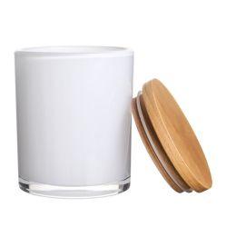 VSS 2020 ساخنة بيع شمعة زجاج باللون الأبيض العاجي ذات الأسطوانة سعة 9 أونصات دورق بغطاء من الخشب