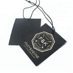 Personalizar Hangtag de papel recubierto de tela al por mayor de la lámina de oro de la etiqueta de la impresión de etiqueta para vaqueros de prendas de vestir
