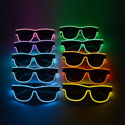 Facturable USB sans fil Linli EL fil jusqu'au néon de lumière LED Rave Lunettes, lunettes de soleil pour partie clignotant Préchauffage