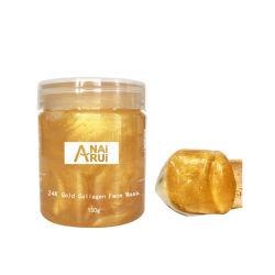 Mascherina facciale dell'oro all'ingrosso del collageno 24K in profondità che pulisce anti grinza e che idrata la maschera di protezione