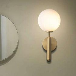 현대 침실 램프 황금 금관 악기 유리제 공 벽 빛