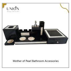Mayorista Negro Acrílico moderno Hotel resina Baño Accesorios conjunto de lujo Estilo de baño