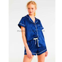 Custom пижама для женщин, шелк короткие втулки ВМС полосой атласной пижамы,