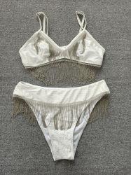 2021 ملابس سباحة معدنية لباس سباحة أبيض بيكيني مكون من قطعتين