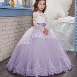 Девушка принцесса свадебные платья показать детей длинной втулки кружевом платье на день рождения платье, свадебные платья председательствовал в партии одежды Одежда Одежда Одежда