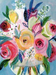 Arte di tela, dipinti a olio di fiori colorati. Foto a parete per decorazione domestica OL-2007124size 24X36 pollici