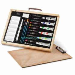 Art Supplies - 28PCS Artist Oil Color Painting Set in. (تم ضبط اللوحة الملونة لزيت الفنان 28 صندوق خشبي