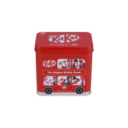 Hotsaleバスは軽食の金属ボックス習慣によって印刷されたチョコレート錫ボックスを形づけた