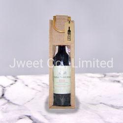 Premium Single Doble vino de yute, Tote Bolsas de regalos con ventana de PVC