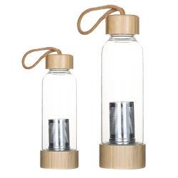Nouveau couvercle en acier inoxydable de bambou Infuser le verre bouteille d'eau pour boire
