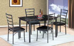 Table à manger cuisine ensemble avec le PVC en faux marbre pour la salle de séjour 4 places, des meubles noirs Factory Direct