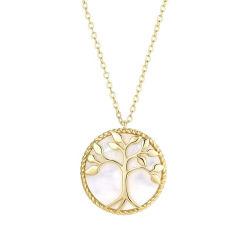مجوهرات الأزياء الذهبية Plated Tree of Life Pendant الأم عقد سلسلة بشجرة بيرل شيل بشرى راس