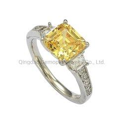925 은 10K 14K 금 결혼 반지 형식 레몬빛 중심 돌 교전 형식 반지