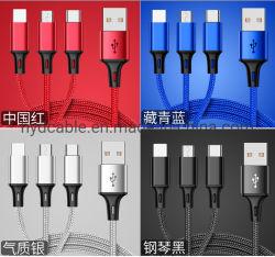 3 en 1 câble USB, câble de données de charge rapide, câble micro USB universel, câble de la foudre, câble de type C, convenable Apple iPhone et Android, 2.4A CABL USB de charge