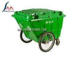 carriola della mano 400L, carrello di plastica dell'immondizia, Hand-Pushing il carrello di pulizia, camion di immondizia