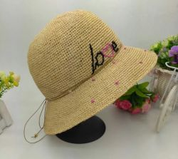 De Leverancier van China de Hoed van Dame Natural Color Crochet Raffia Stro