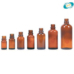 De diepe AmberdieFlessen van het Druppelbuisje van het Glas voor het Vullen van Essentiële Oliën worden gebruikt