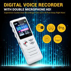 Portátil Mini 8GB Grabador de sonido de voz digital con doble dispositivo de grabación HD micrófonos