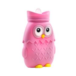 Forma de búho botellas de agua caliente, silicona Bolsa Botella de agua caliente, calefacción microondas sin BPA Explosion-Proof ambiental pequeña botella de agua de silicona