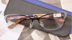 2020년 핫 세일즈 맞춤형 디자이너 카자흐스탄 시장 하프 스테인리스 스틸 Sun 안경 Cat 아이 리딩 안경 - 여성용 및 남성용