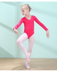 도매 하이 퀄리티 키즈 걸즈 어린이 긴팔 핑크 발레 의복 의복 댄스웨어