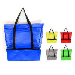 Pinstripe de promoción comercial de la malla del enfriador de bolsa de comestibles bolsa de playa