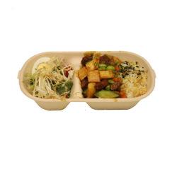 800 мл 2 отсека бамбук ланч-бокс базовой продовольственной упаковке