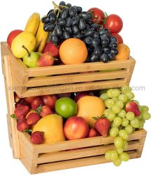 سلة فاكهة مضادة وعاء لتناول الطعام في المطبخ، 2 من الخيزران الخيزران، الخضار، مخزن الوجبات الخفيفة