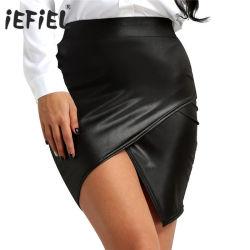 Womens en simili-cuir sexy taille haute Bodycon à fente latérale une jupe crayon en ligne
