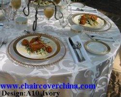 結婚式のためのポリエステルダマスク織のテーブルクロス