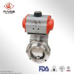En acier inoxydable de vanne de commande pneumatique sanitaires motorisé