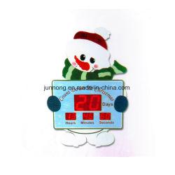 Большой подарок Рождества схемы снежную бабу индикатор цифровой регистрации день обратного отсчета будильник
