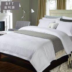 자카드 직물 면 백색 침구 또는 호텔 시트와 베갯잇