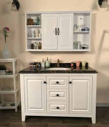 Moderne matte Lackoberfläche weiß Farbe Solides Holz Badezimmer Vanity (ACS1-W123)