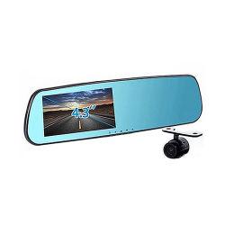 完全なHD 1080P 4.3インチ二重レンズ車の背面図ミラーDVR