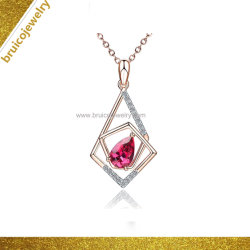 La mode Big Oval-Shaped Zircon bijoux collier rose couleur or 14K Crystal Necklace pour les filles