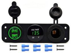 Разъем питания на выходе 12 в гнездо панели+тройной функция Dual зарядное устройство USB + Индикатор вольтметр +Car лодки морской цифровых устройств мобильный телефон планшетный ПК (зеленый светодиод)