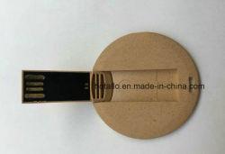 Reciclar degradables madera círculo redondo de fibra mini tarjeta de memoria Flash USB.
