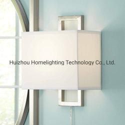 Jlw-H043 현대 벽 램프 플러그 접속식 직사각형 솔질된 니켈 백색 그늘