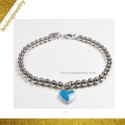Bisutería Abalorios de plata en forma de corazón encanto Pulsera con esmalte azul para las mujeres