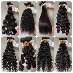 Les faisceaux de cheveux d'alimentation de l'usine de gros de Tissage de cheveux Remy vierge 100 % de cheveux humains brésilien