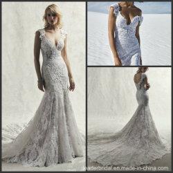 贅沢な花嫁衣装のカスタム帽子は人魚のウェディングドレス2020 S9035にスリーブを付ける