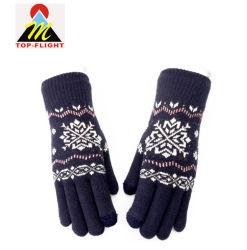L'hiver tricot jacquard personnalisé mitaines Gants d'écran tactile