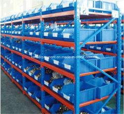 倉庫の記憶媒体の義務のプラスチック大箱が付いている長いスパンの棚