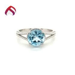 Sky Blue Topaz gemas naturales de la piedra principal 925 Anillo de Plata